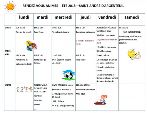 animation horaires 2015
